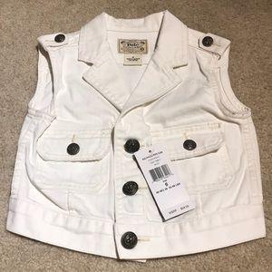 Ralph Lauren cropped white denim vest